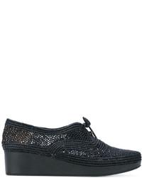Zapatos con cordones de lona bordados negros de Robert Clergerie