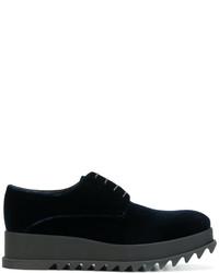 Zapatos con cordones de terciopelo azul marino de Jil Sander
