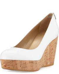 Zapatos con cuña de cuero blancos de Stuart Weitzman