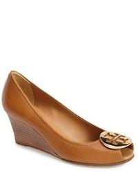 Zapatos con Cuña de Cuero Marrón Claro de Tory Burch