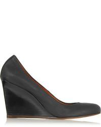 Zapatos con cuña de cuero negros de Lanvin