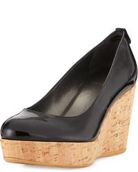 Zapatos con cuña de cuero negros de Stuart Weitzman