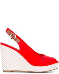 Zapatos con cuña de cuero rojos de Tommy Hilfiger