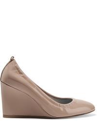 Zapatos con cuña de cuero rosados de Lanvin