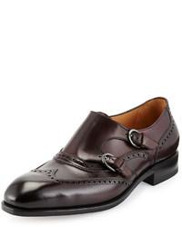 Zapatos con doble hebilla burdeos de Salvatore Ferragamo