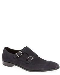 Zapatos con doble hebilla de ante azul marino