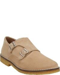 Zapatos con doble hebilla de ante en beige