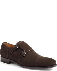 Zapatos con Doble Hebilla de Ante en Marrón Oscuro de a. testoni
