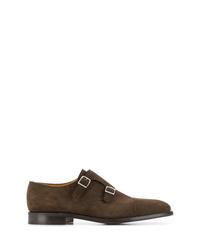Zapatos con doble hebilla de ante en marrón oscuro de John Lobb
