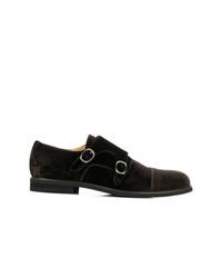 Zapatos con doble hebilla de ante en marrón oscuro de Steve's