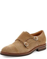 Zapatos con doble hebilla de ante marrón claro de Brunello Cucinelli