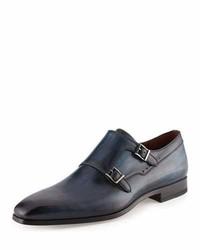 Zapatos con doble hebilla de cuero azul marino de Neiman Marcus