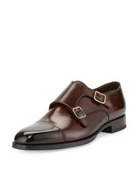 Zapatos con doble hebilla de cuero burdeos de Tom Ford