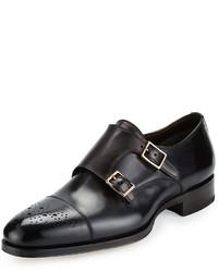 Zapatos con Doble Hebilla de Cuero en Gris Oscuro de Tom Ford