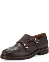 Zapatos con doble hebilla de cuero en marrón oscuro de Brunello Cucinelli