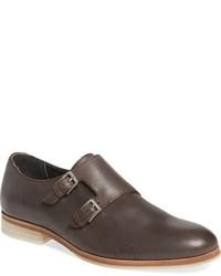 Zapatos con doble hebilla de cuero en marrón oscuro de Calvin Klein