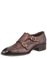 Zapatos con doble hebilla de cuero en marrón oscuro de Tom Ford