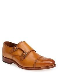 Zapatos con doble hebilla de cuero marrón claro