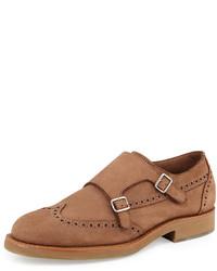 Zapatos con doble hebilla de cuero marrón claro de Brunello Cucinelli