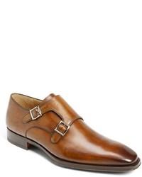 Zapatos con Doble Hebilla de Cuero Marrón Claro de Magnanni