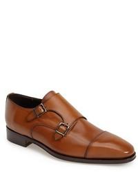 Zapatos con doble hebilla de cuero marrónes