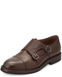 Zapatos con doble hebilla de cuero marrónes de Brunello Cucinelli