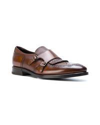 Zapatos con doble hebilla de cuero marrónes de Henderson Baracco