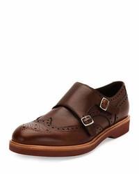 Zapatos con doble hebilla de cuero marrónes de Salvatore Ferragamo