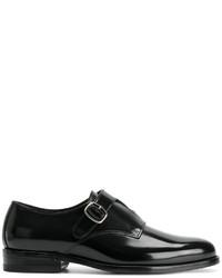 Zapatos con doble hebilla de cuero negros de Saint Laurent