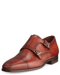 Zapatos con doble hebilla de cuero rojos de Magnanni