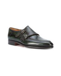 Zapatos con doble hebilla de cuero verde oscuro