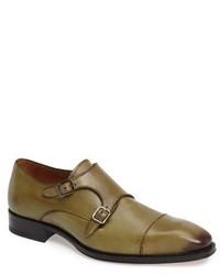 Zapatos con Doble Hebilla Verde Oliva de Mezlan