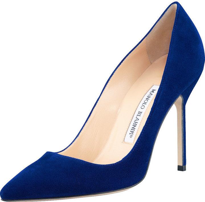 busca lo último Cantidad limitada comprar $595, Zapatos de tacón azul marino de Manolo Blahnik