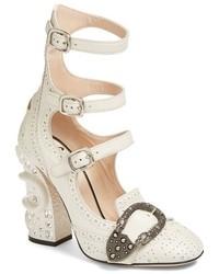 Zapatos de Tacón con Adornos Blancos de Gucci