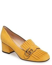 Zapatos de Tacón de Ante Amarillos de Gucci