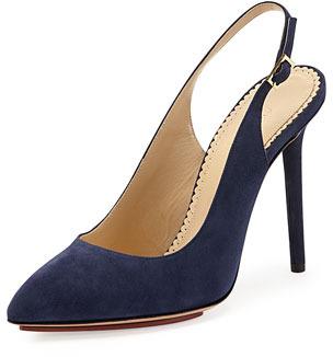 comprar oficial materiales superiores imágenes oficiales Zapatos de tacón de ante azul marino de Charlotte Olympia