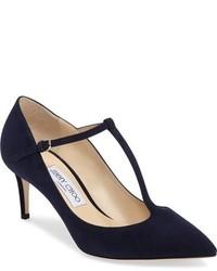 Zapatos de Tacón de Ante Azul Marino de Jimmy Choo