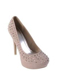 Zapatos de tacón de ante con adornos en beige