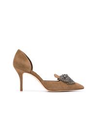 Zapatos de tacón de ante con adornos en tabaco de Tory Burch