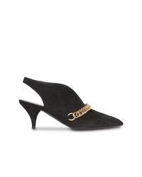 Zapatos de tacón de ante con adornos negros de Burberry