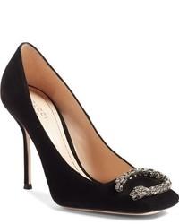 Zapatos de Tacón de Ante con Adornos Negros de Gucci