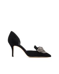 Zapatos de tacón de ante con adornos negros de Tory Burch