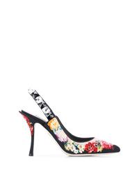 Zapatos de tacón de ante con print de flores negros de Dolce & Gabbana