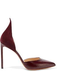 Zapatos de tacón de ante con print de serpiente burdeos de Francesco Russo