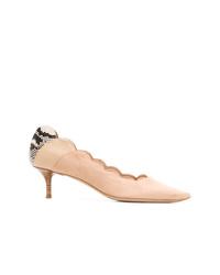 Zapatos de tacón de ante con print de serpiente rosados de Chloé