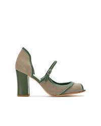 Zapatos de tacón de ante con recorte grises de Sarah Chofakian