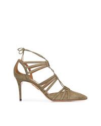 Zapatos de tacón de ante con recorte verde oliva de Aquazzura