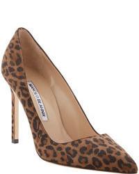 Zapatos de tacón de ante de leopardo marrónes