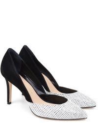 Zapatos de tacón de ante en blanco y negro