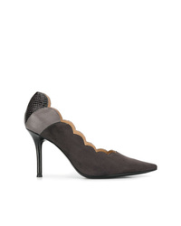 Zapatos de tacón de ante en gris oscuro de Chloé